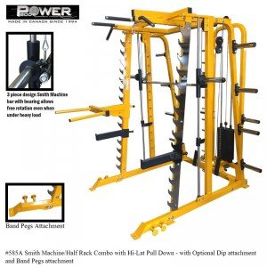 Smith Machine Half Rack with Hi Lat-low row combo